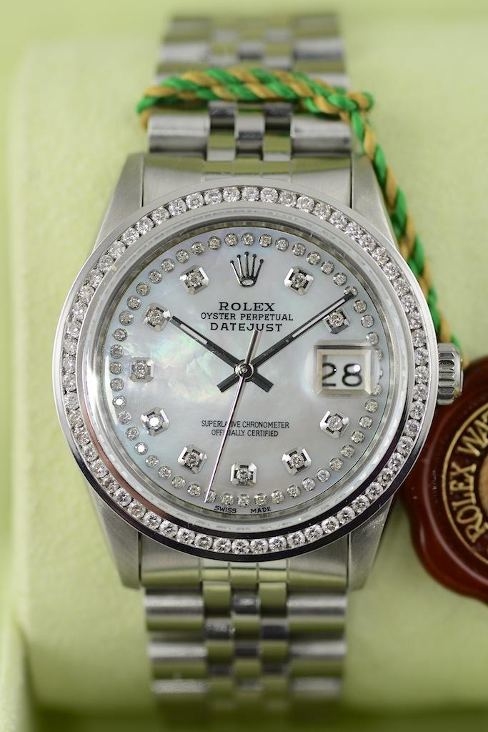 Rolex Datejust Mit Perlmutt Zifferblatt In Weiss Mit 110 Diamanten