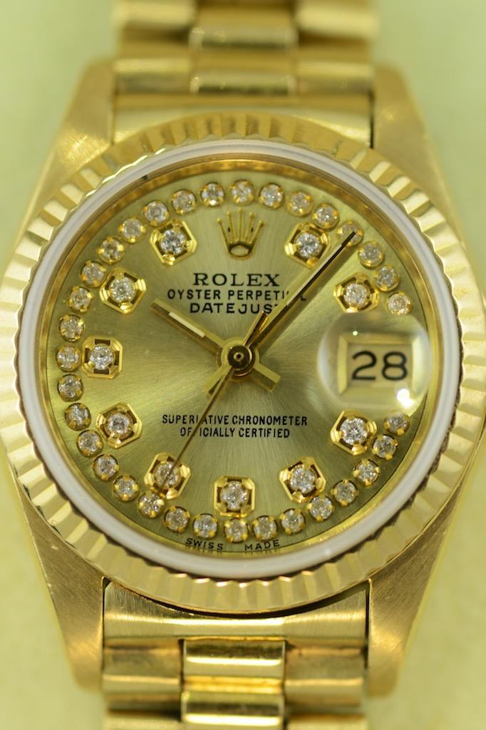 rolex ladies datejust 18k gelbgold mit pr sidenten armband couture watch rolex occasionen. Black Bedroom Furniture Sets. Home Design Ideas