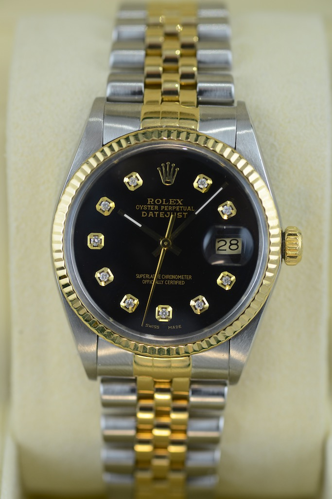 rolex datejust gold stahl in schwarz couture watch. Black Bedroom Furniture Sets. Home Design Ideas