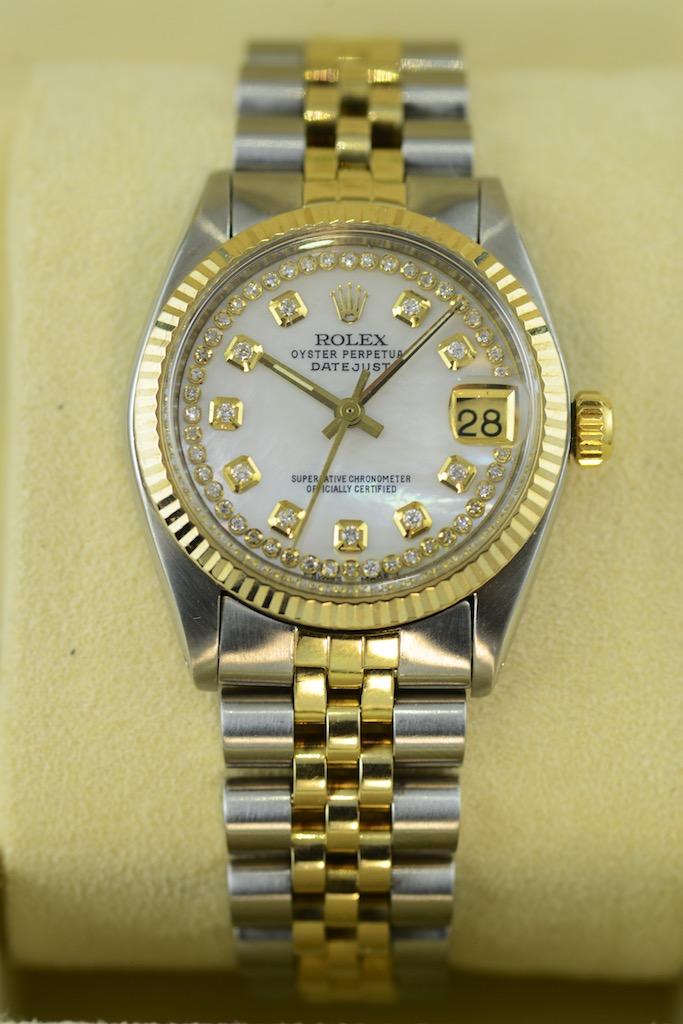 Rolex Lady 31 Datejust Midsize Mit 54 Diamanten Auf Perlmutt In Gold