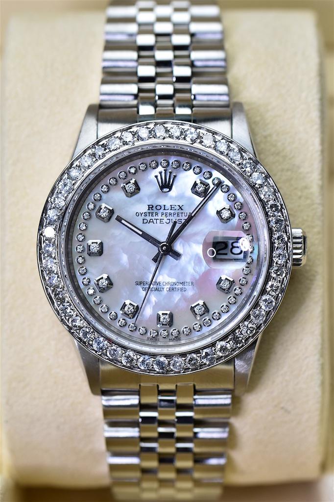 Rolex Datejust Mit Perlmutt Zifferblatt In Weiss Mit 3ct Diamanten
