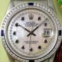 Rolex Datejust mit Perlmutt Zifferblatt mit Diamanten und Saphiren besetzt