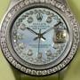 Rolex Ladies Datejust mit Diamanten Zifferblatt in Perlmutt Blau