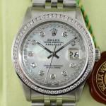 Rolex Datejust mit Diamanten auf dem Perlmutt Zifferblatt