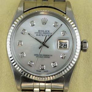 Rolex mens Datejust in 36mm mit Perlmutt in weiss Zifferblatt mit 10 Diamaten